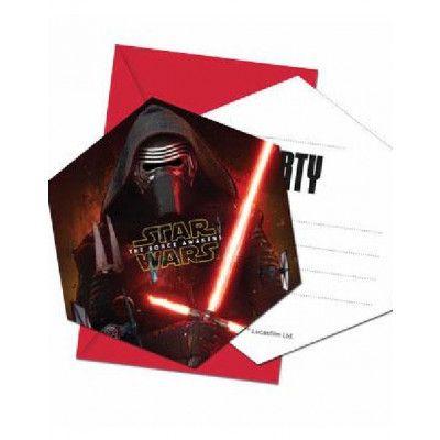 6 stk Inbjudningskort - Star Wars The Force Awakens