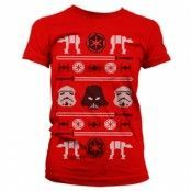 Star Wars AT-AT X-Mas Knit Girly T-Shirt, Girly Tee
